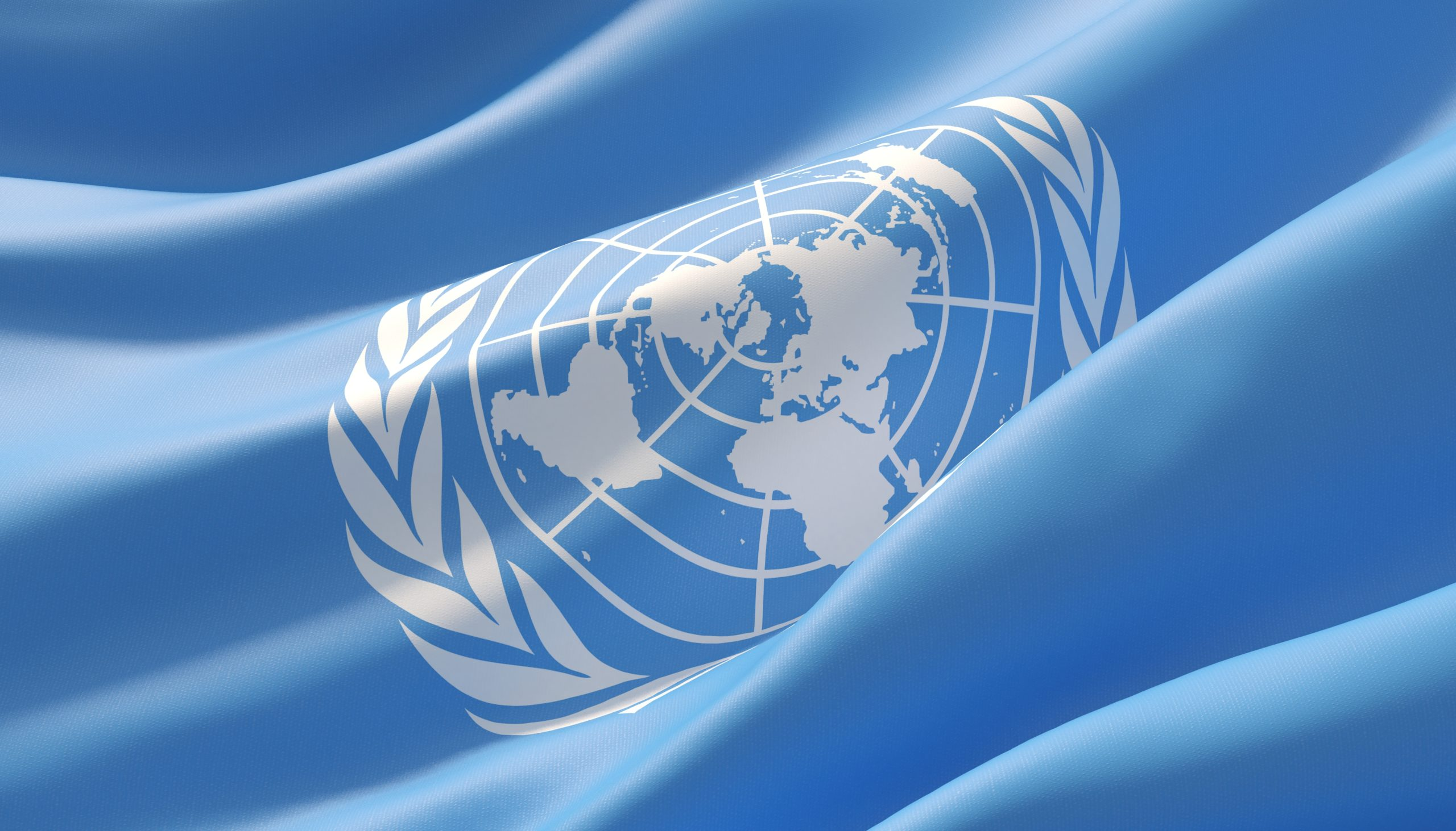 Background with flag of United Nations